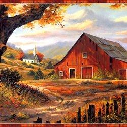 Пазл онлайн: Осень в деревне