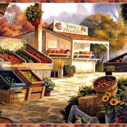 Пазл онлайн: Деревенский рынок