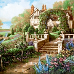 Пазл онлайн: Дом с  зеленой аркой