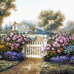 Пазл онлайн: Розы у калитки