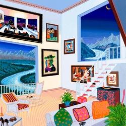 Пазл онлайн: Интерьер с картинами Пикассо
