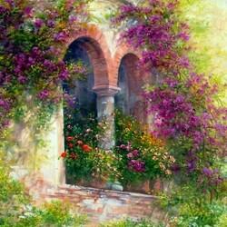 Пазл онлайн: Арка в цветах