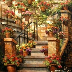 Пазл онлайн: Лестница в цветах