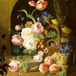 Пазл онлайн: Букет с виноградом и попугаями