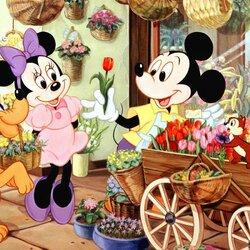 Пазл онлайн: Цветочная лавка Микки