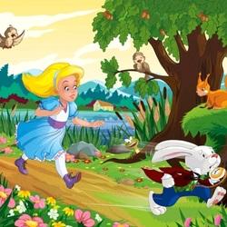 Пазл онлайн: Алиса и кролик