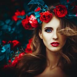 Пазл онлайн: Венок с розами