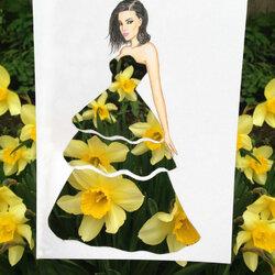 Пазл онлайн: Платье с нарциссами