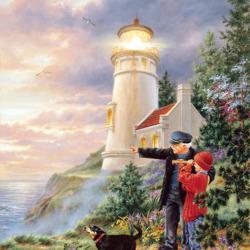 Пазл онлайн: Дедушка - смотритель маяка