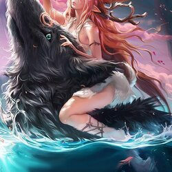 Пазл онлайн: Волк и олень