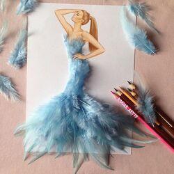 Пазл онлайн: В голубых перьях