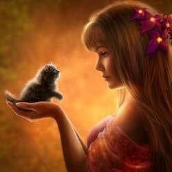 Пазл онлайн: Девушка и котенок