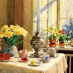 Пазл онлайн: Чайный стол