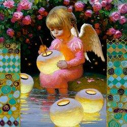 Пазл онлайн: Ангел и фонарики