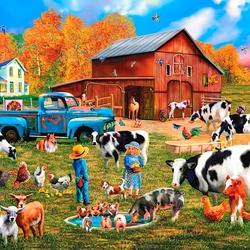 Пазл онлайн: Осенью на ферме