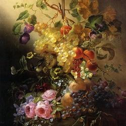 Пазл онлайн: Цветы, фрукты и бабочки на столе