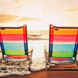Пазл онлайн: Закат на пляже