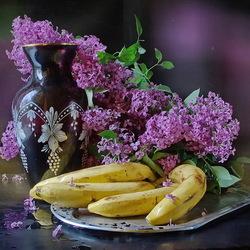 Пазл онлайн: Сирень и фрукты