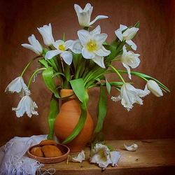 Пазл онлайн: Нарциссы и тюльпаны