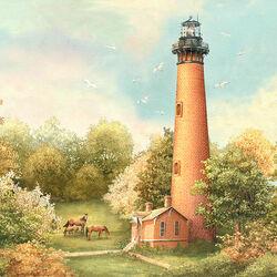 Пазл онлайн: Краснокирпичный маяк