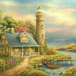 Пазл онлайн: Дом с маяком