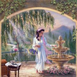 Пазл онлайн: У фонтана