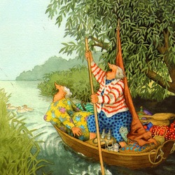 Пазл онлайн: Весёлые старушки на лодке