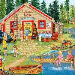 Пазл онлайн: Домик на озере