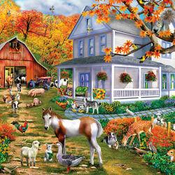 Пазл онлайн: Деревенская осень
