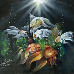 Пазл онлайн: Золотые рыбки
