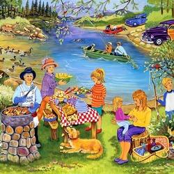 Пазл онлайн: Пикник на озере