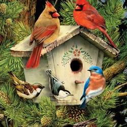 Пазл онлайн: Птичий домик