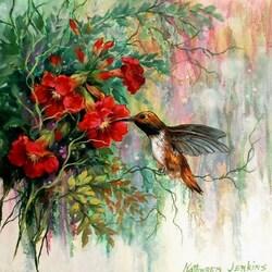Пазл онлайн: Колибри в цветах