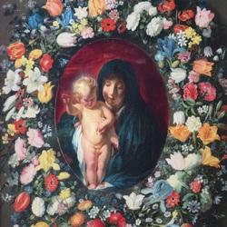 Пазл онлайн: Мадонна и дитя в цветочной оправе