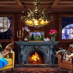 Пазл онлайн: Кошачий отель