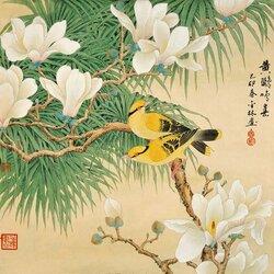 Пазл онлайн: Гохуа. Цветы и птицы.