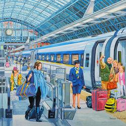 Пазл онлайн: Eurostar на вокзале Сент-Панкрас
