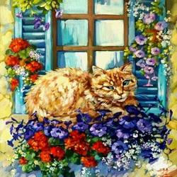 Пазл онлайн: Цветочный кот