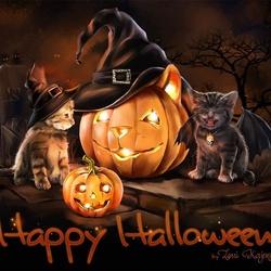 Пазл онлайн: Хэллоуинские кошки