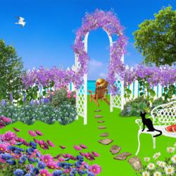 Пазл онлайн: Черный кот в саду