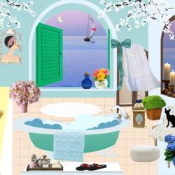 Пазл онлайн: Черный кот в ванной