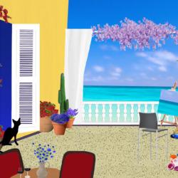 Пазл онлайн: Черный кот на балконе
