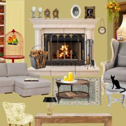 Пазл онлайн: Черный кот в комнате