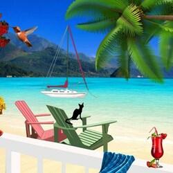 Пазл онлайн: Черный кот на морском берегу