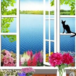 Пазл онлайн: Черный кот на окне