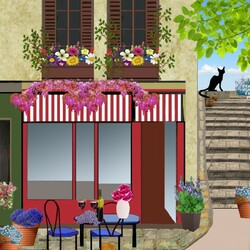 Пазл онлайн: Черный кот на террасе кафе
