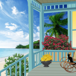 Пазл онлайн: Черный кот на веранде