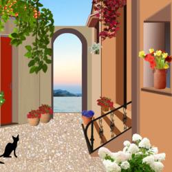 Пазл онлайн: Черный кот во дворе