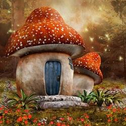 Пазл онлайн: Дом-гриб