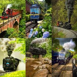 Пазл онлайн: Паровозы...Поезда...